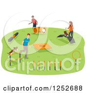 Clipart Of A Dog Agility Park With Owners And Their Pets Royalty Free Vector Illustration by BNP Design Studio