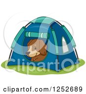 Clipart Of A Cute Dog Resting In A Tent Royalty Free Vector Illustration