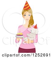 Clipart Of A Blond Caucasian Woman Holding Her Birthday Dog And A Cake Royalty Free Vector Illustration