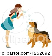 Clipart Of A Brunette Caucasian Woman Blowing Bubbles At Her Collie Dog Royalty Free Vector Illustration