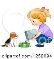 Clipart Of A Red Haired White Girl Feeding Her Beagle Puppy Dog Royalty Free Vector Illustration by BNP Design Studio