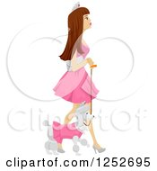 Clipart Of A Brunette Caucasian Woman In A Princess Costume Walking Her Poodle Royalty Free Vector Illustration