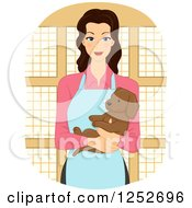 Clipart Of A Happy Pet Shop Woman Holding A Puppy Dog Royalty Free Vector Illustration