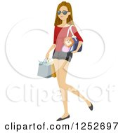 Clipart Of A Young Caucasian Woman Carrying Her Dog In A Carrier While Shopping Royalty Free Vector Illustration