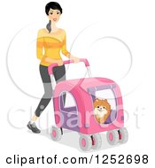Clipart Of A Woman Walking A Dog In A Stoller Royalty Free Vector Illustration