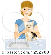 Clipart Of A Blond Caucasian Woman Brushing Her Dogs Teeth Royalty Free Vector Illustration