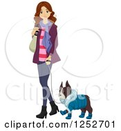 Clipart Of A Brunette Caucasian Woman Walking Her Dog In Winter Clothes Royalty Free Vector Illustration