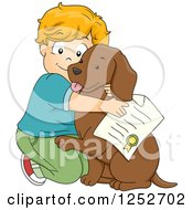 Clipart Of A Caucasian Boy Hugging His Newly Adopted Dog Royalty Free Vector Illustration