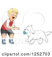 Blond Caucasian Boy Playing Ball Fetch With A Dog