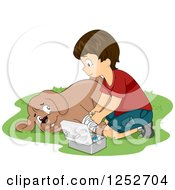 Clipart Of A Brunette Caucasian Boy Playing Veterinarian With His Dog Royalty Free Vector Illustration