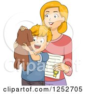 Clipart Of A Caucasian Mother Giving Her Son A Puppy Royalty Free Vector Illustration