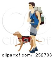 Clipart Of A Caucasian Man Hiking With His Dog Royalty Free Vector Illustration