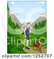Clipart Of A Caucasian Man Hiking Through A Forest With His Dog Royalty Free Vector Illustration