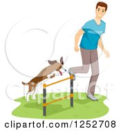 Clipart Of A White Man Running His Dog Through An Agility Course Hurdle Royalty Free Vector Illustration
