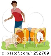 Clipart Of A Black Man Running His Dogs Through An Agility Course Tunnel Royalty Free Vector Illustration