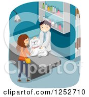 Clipart Of A Caucasian Woman And Veterinarian Going Over A Check Up For Her Dog Royalty Free Vector Illustration