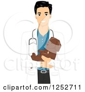 Clipart Of A Handsome Veterinarian Man Holding A Puppy Royalty Free Vector Illustration