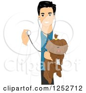 Clipart Of A Handsome Male Veterinarian Holding A Dog And Stethoscope Royalty Free Vector Illustration