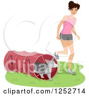 Poster, Art Print Of Caucasian Woman Running Her Dog Through An Agility Course Tunnel