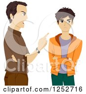 Clipart Of A Mad Father Scolding His Teenage Son Royalty Free Vector Illustration