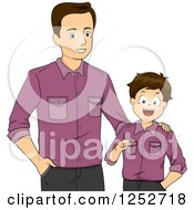 Clipart Of A Brunette Caucasian Father And Son Wearing Matching Shirts Royalty Free Vector Illustration