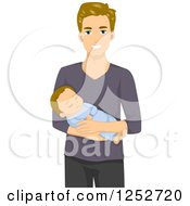 Clipart Of A Caucasian Father Holding His Baby Royalty Free Vector Illustration