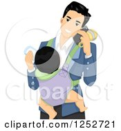 Clipart Of A Happy Father Talking On A Cell Phone And Feeding A Baby On His Chest Royalty Free Vector Illustration
