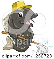 Clipart Of A Janitor Fish Mopping Royalty Free Vector Illustration by BNP Design Studio