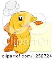 Clipart Of A Happy Orange Chef Fish With A Menu Sign Royalty Free Vector Illustration by BNP Design Studio