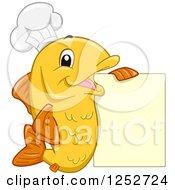 Happy Orange Chef Fish With A Menu Sign