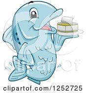 Clipart Of A Blue Fish Holding A Can Of Sardines Royalty Free Vector Illustration by BNP Design Studio