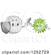 Clipart Of A Strong White Blood Cell Batting An Antigen Royalty Free Vector Illustration by BNP Design Studio