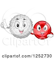 Clipart Of Happy White And Red Blood Cells Royalty Free Vector Illustration by BNP Design Studio