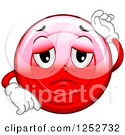 Clipart Of A Sick Red Blood Cell Character Royalty Free Vector Illustration