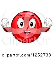 Clipart Of A Strong Red Blood Cell Character Flexing Royalty Free Vector Illustration