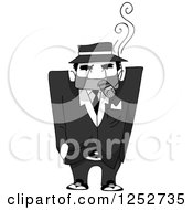 Clipart Of A Grayscale Mafia Mobster Man Smoking A Cigar Royalty Free Vector Illustration by BNP Design Studio