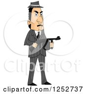 Clipart Of A Mafia Mobster Man Holding A Machine Gun Royalty Free Vector Illustration