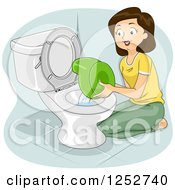 Clipart Of A Brunette Caucasian Mother Emptying A Potty Training Bowl Royalty Free Vector Illustration