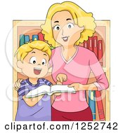 Clipart Of A Blond Caucasian Mother And Son Looking At Books In A Store Royalty Free Vector Illustration
