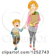 Clipart Of A Caucasian Mother And Son Holding Hands And Carrying Groceries Royalty Free Vector Illustration by BNP Design Studio