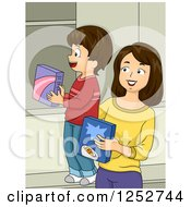 Clipart Of A Brunette Caucasian Mother And Son Putting Away Groceries Royalty Free Vector Illustration
