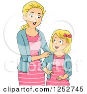 Clipart Of A Blond Caucasian Mother And Daughter In Matching Outfits Royalty Free Vector Illustration
