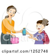 Clipart Of A Brunette Caucasian Mother Giving Her School Girl Daughter Her Lunch And Thermos Royalty Free Vector Illustration