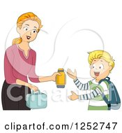 Clipart Of A Brunette Caucasian Mother Giving Her School Boy Son His Lunch And Thermos Royalty Free Vector Illustration