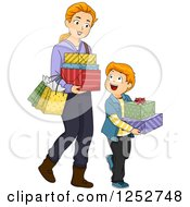 Clipart Of A Red Haired Caucasian Mother And Son Carrying Gift Boxes And Shopping Bags Royalty Free Vector Illustration