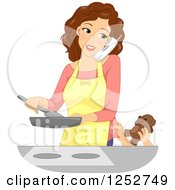 Clipart Of A Brunette Caucasian Mother Talking On A Phone And Cooking While A Child Tries To Give Her A Teddy Bear Royalty Free Vector Illustration