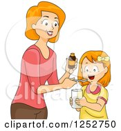 Clipart Of A Red Haired Caucasian Mother Giving Her Daughter Liquid Vitamins Royalty Free Vector Illustration by BNP Design Studio