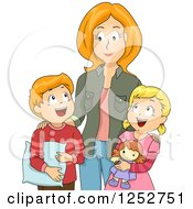 Clipart Of A Red Haired Caucasian Mother Getting Her Children Ready For Nap Time Royalty Free Vector Illustration