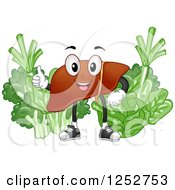 Clipart Of A Happy Liver With Healthy Green Vegetables Royalty Free Vector Illustration