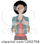 Clipart Of A Happy Black Woman Using A Video Camera Royalty Free Vector Illustration by BNP Design Studio